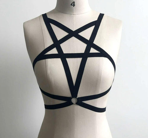 Gothic Pentagram Harness Top