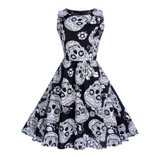 Black sugar skull retro dress