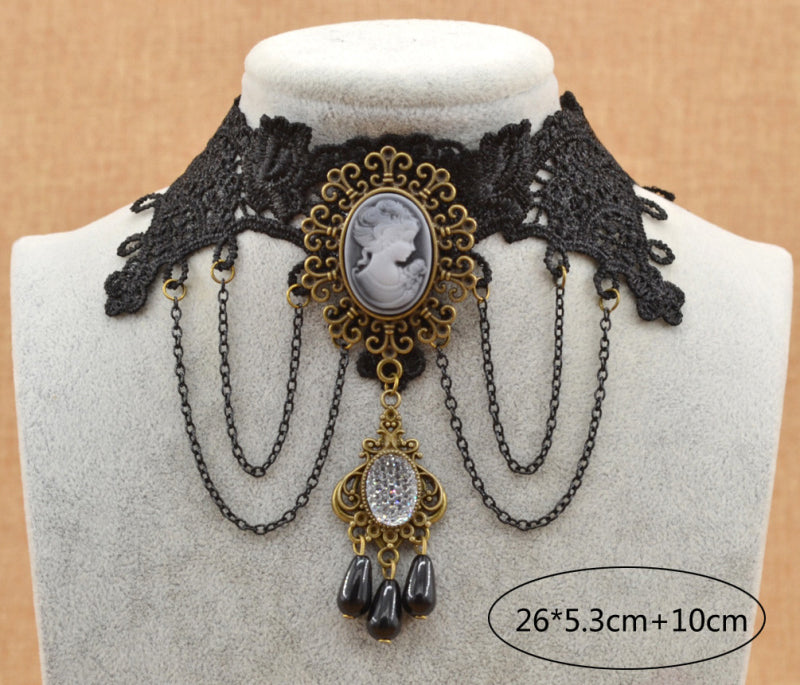 Gothic Steampunk lace collar necklace