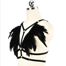 Noir Feather Cage Harness Top