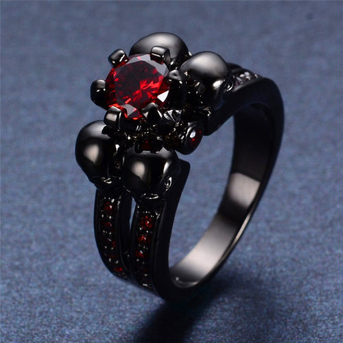 Black Rhinestone Jewel Skull Ring