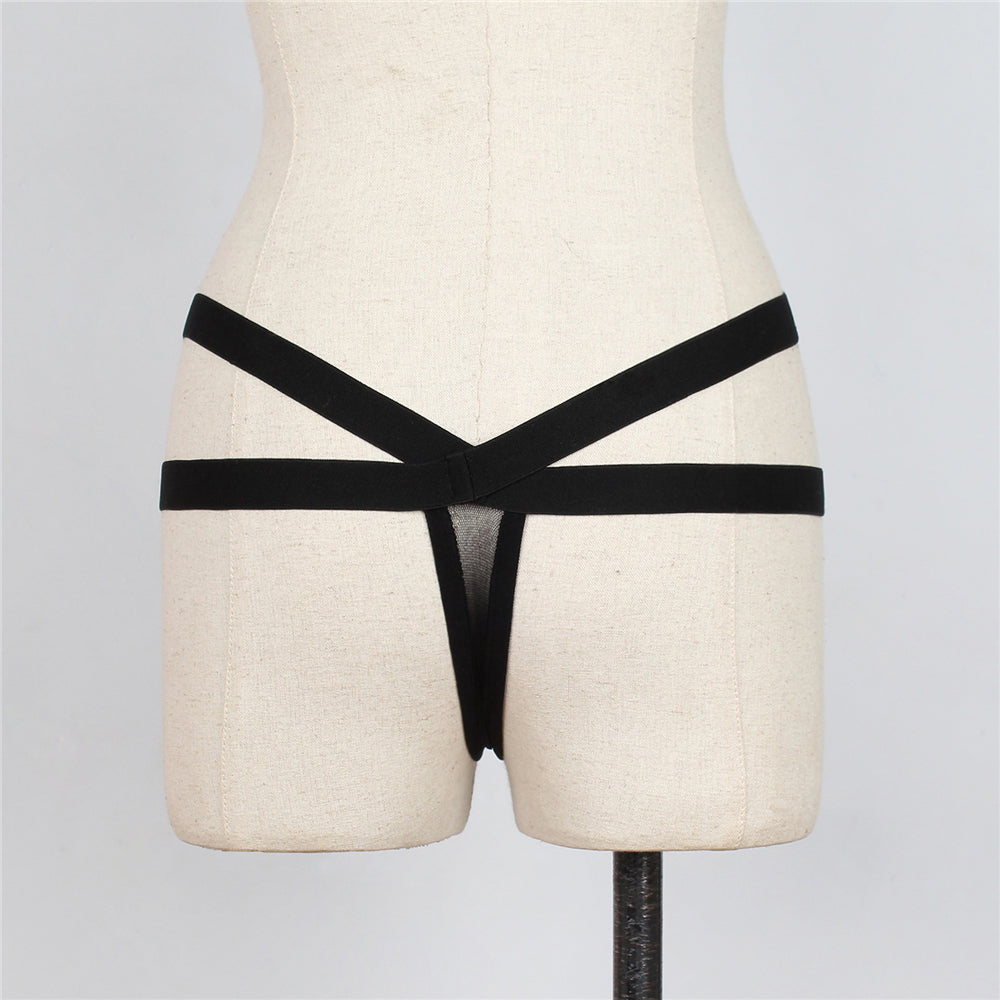 f65534be12 Thick Strap Black Harness Thong Lingerie Bottoms – liquidred