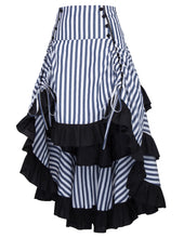 Vintage Stripe High Low Ruffle Skirt