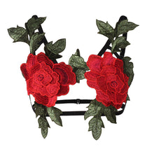 Dual Red Roses Floral Lace Harness Cage Bra Lingerie
