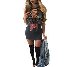 Rocker lace up front dress