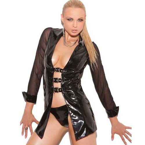 Shiny black vinyl buckle jacket
