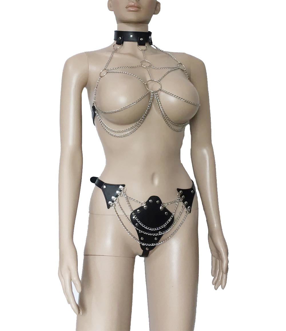 Chain Bra Harness Top and Bottom Set