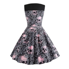 Short pink skull retro dress