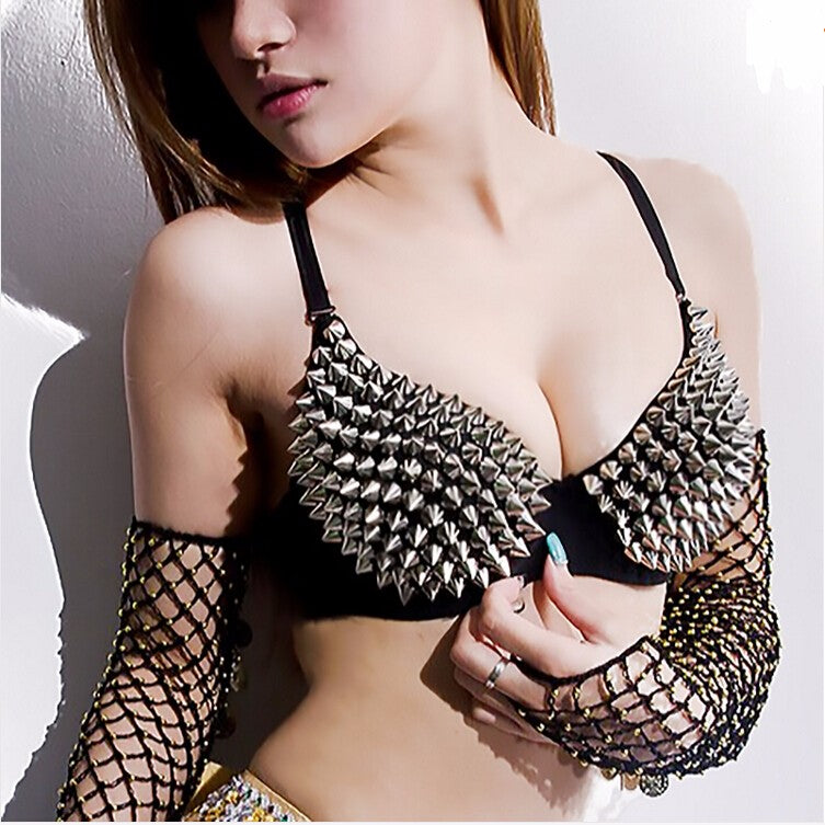 Silver Or Gold Spiked Black Bra