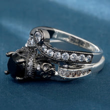 Colored Rhinestone Jewel Skull Double Engagement Wedding Ring