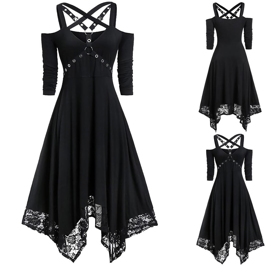 Harness X Lace Black Dress