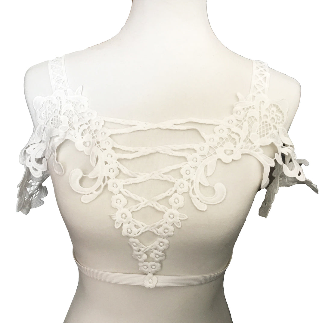 White Lace Corset Style Harness Top