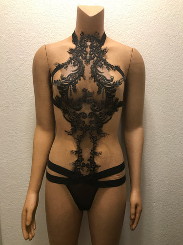 Elegant Black Lace Full Body Cage Harness