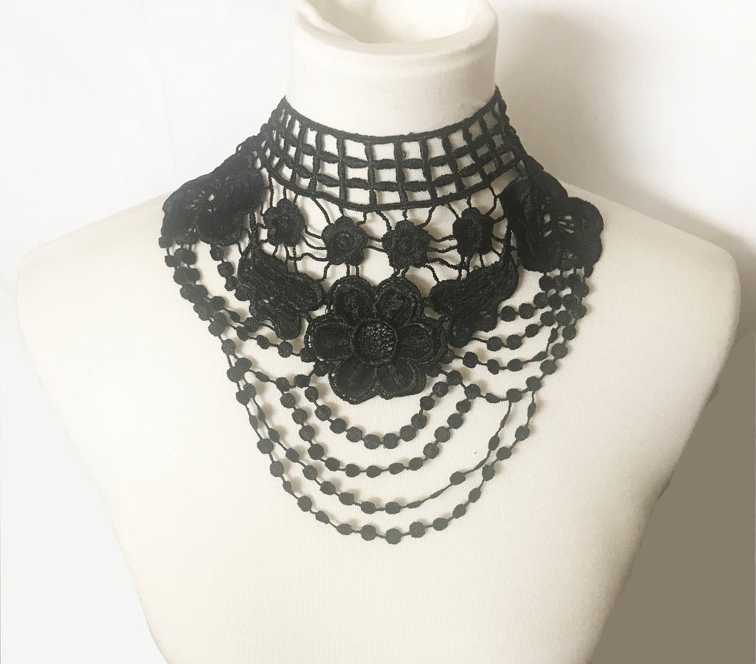 Gothic Black Floral Lace collar necklace