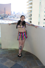 Rainbow Glitter PVC Fringe Mini Skirt