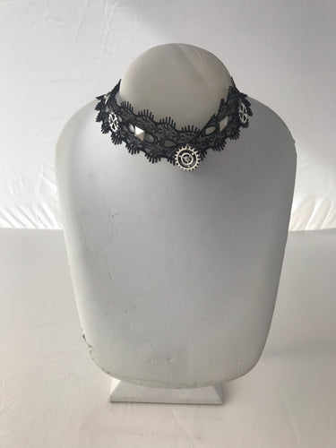 Gothic steampunk gear black lace collar necklace 1