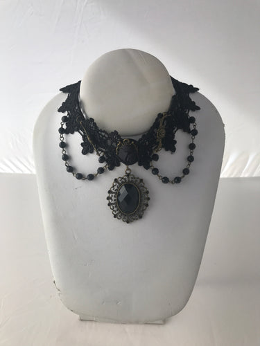 Black Jewel Gothic steampunk gear black lace collar necklace