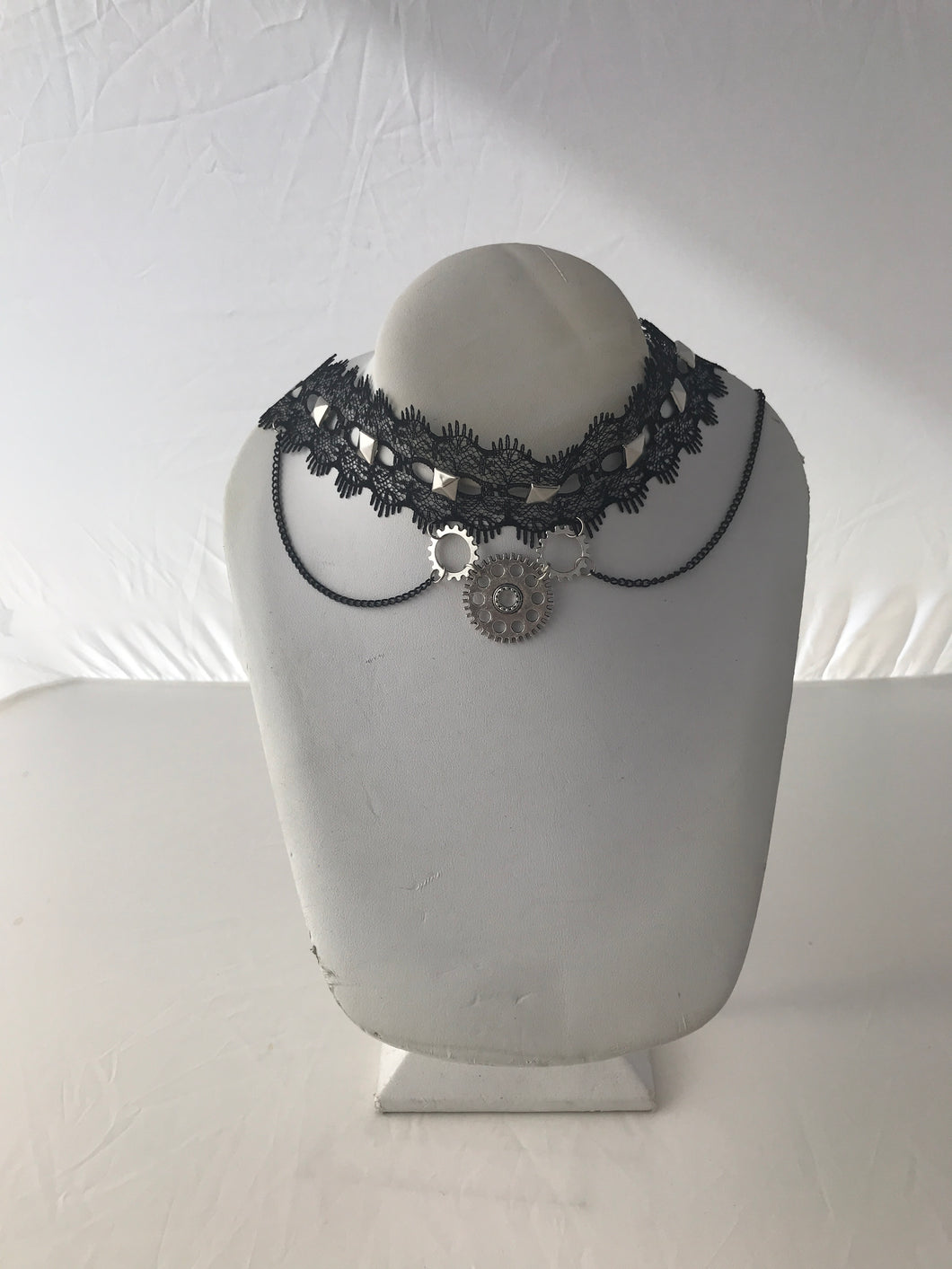 Gothic steampunk gear black lace collar necklace with chain 2