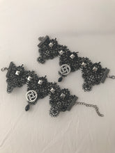 Steampunk studded with gears black lace bracelet set