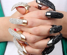 Rhinestone Gothic Claw Talon Ring Set