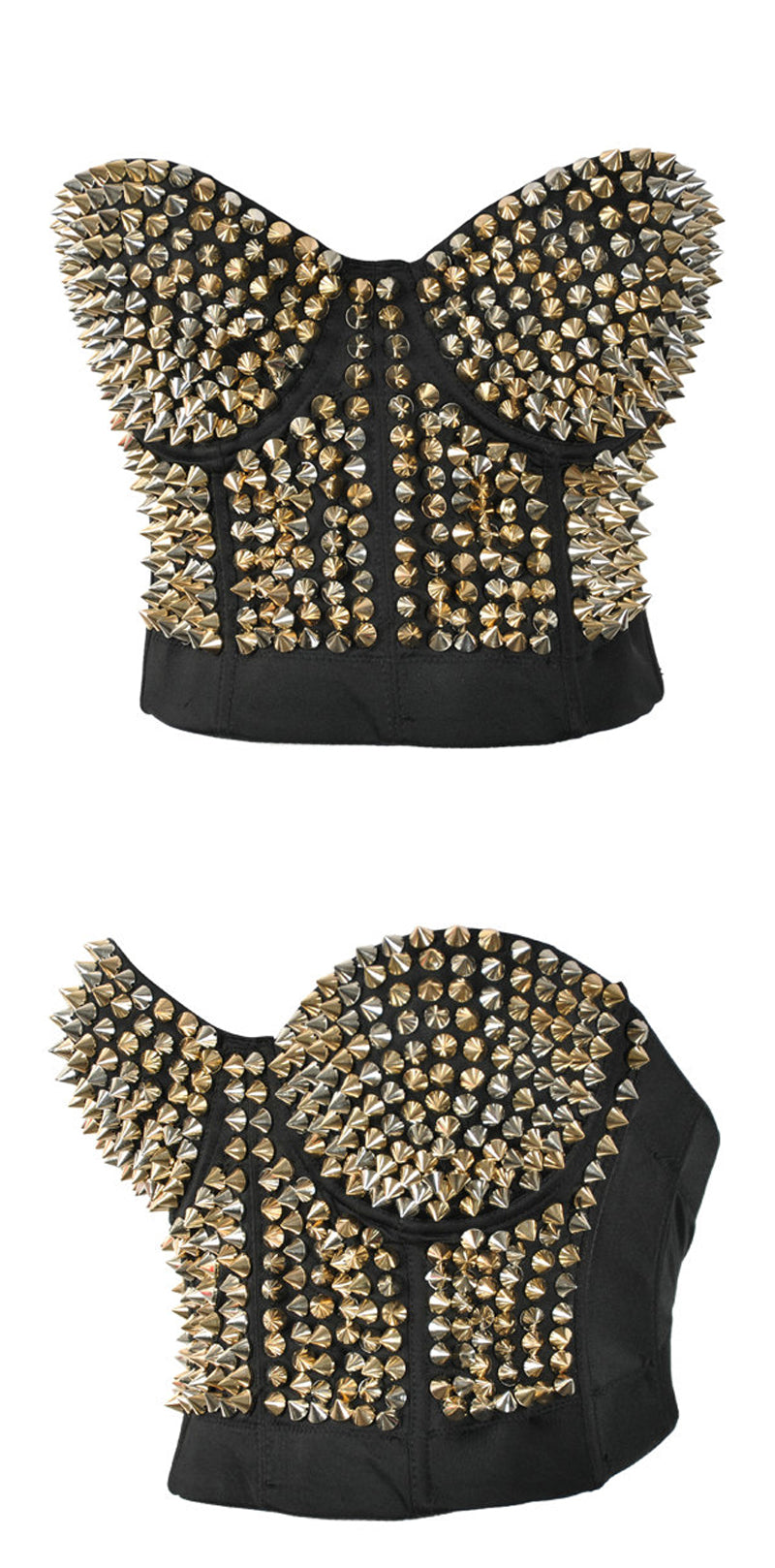 Silver Or Gold Spiked Bra Top