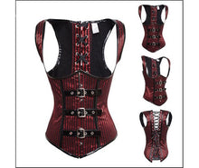 Gothic Steampunk Striped Red Black Underbust Corset Top Small Plus Size
