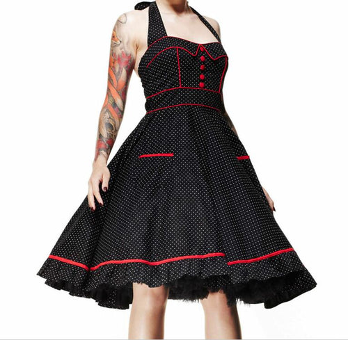 Polkadot Rockabilly halter Vintage Swing Retro dress