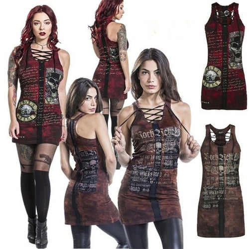 Punk Gothic Skull Sleeveless Camisole Mini Dress