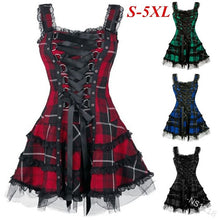 Lace Up School Girl Cosplay Gothic Plaid Dress