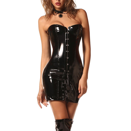 Red or Black Vinyl Faux Leather Corset Dress