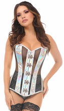 Silver Holographic & Black Fishnet Steel Boned Over Bust Corset