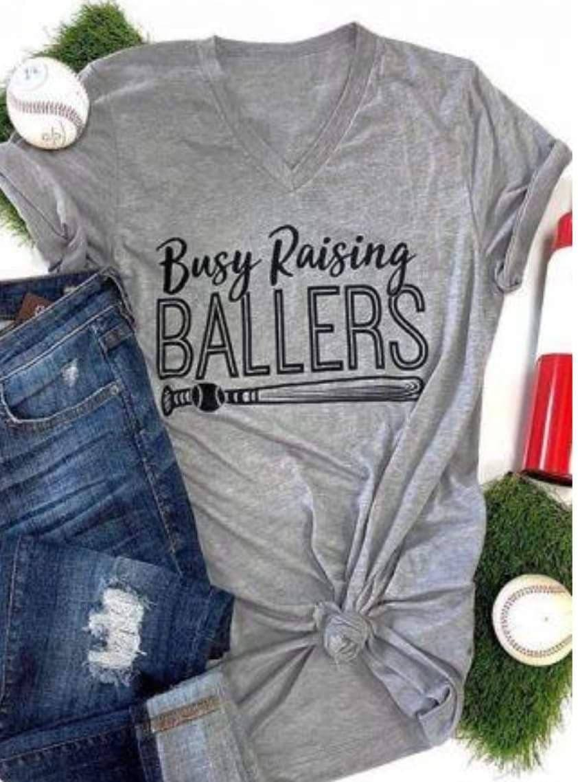Busy Raising Ballers Short Sleeve   V-Neck T-Shirt (White)