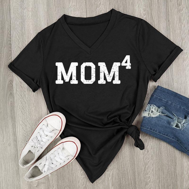 Mom 4, V-Neck, T-Shirt (Black)