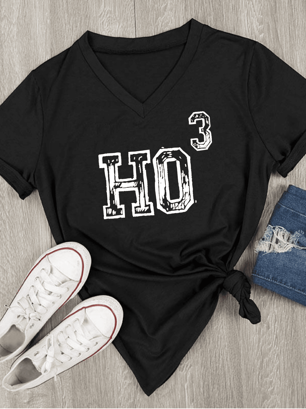 HO To The Third Santa Christmas Short-Sleeve   V-Neck T-Shirt
