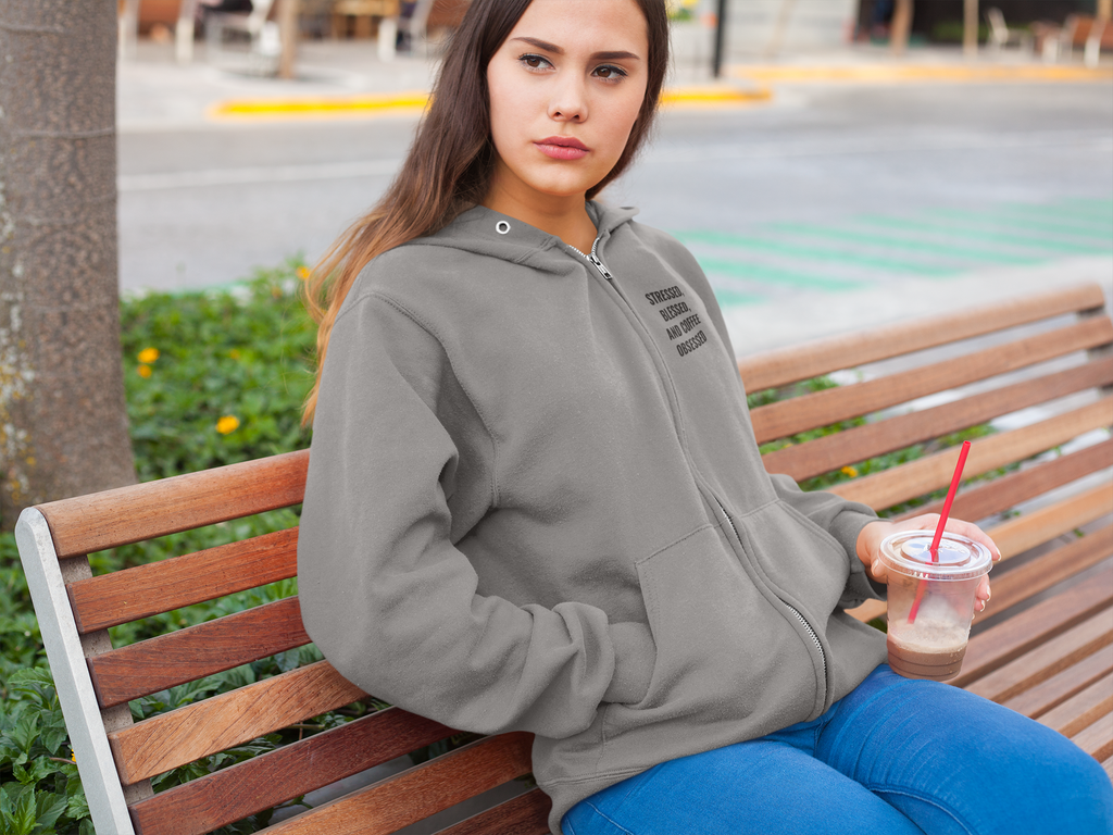 Stressed Blessed & Coffee Obsessed Hooded Sweatshirt