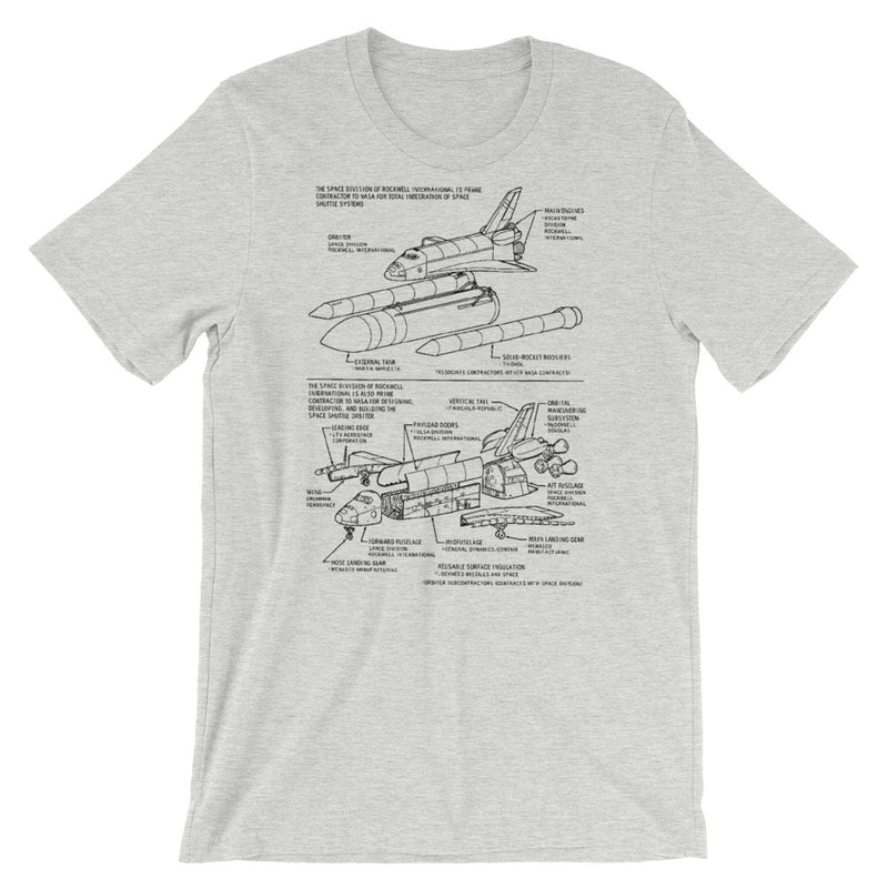 Nasa Space Shuttle Blueprint Short-Sleeve T-Shirt