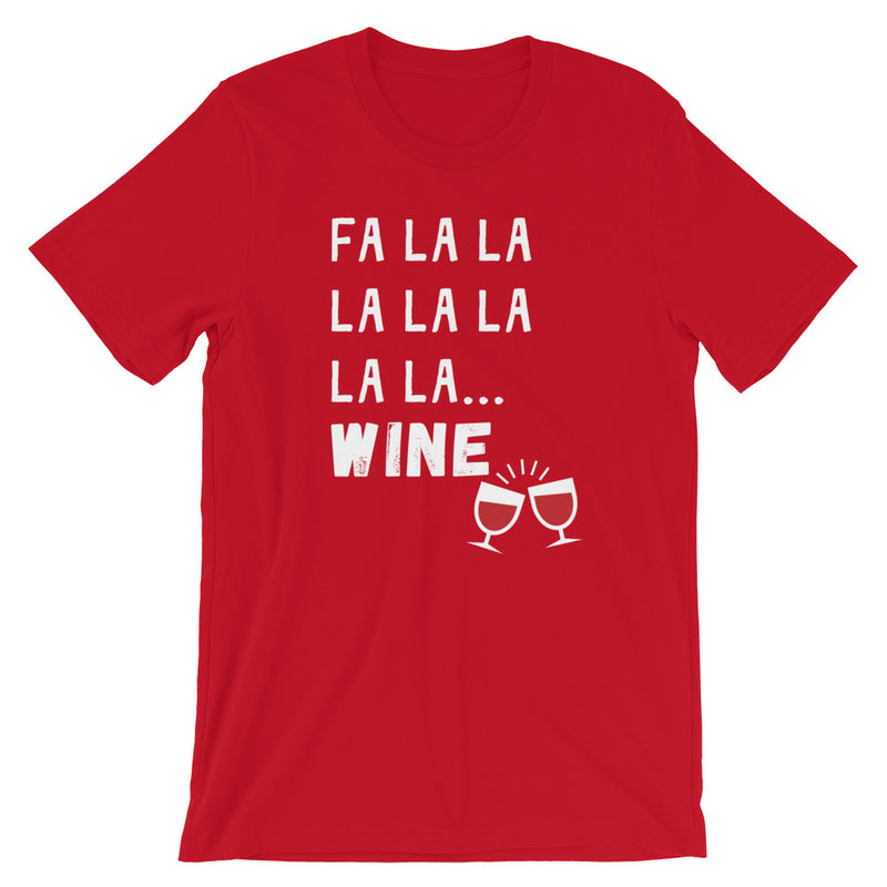 Christmas Fa La La La Wine Short-Sleeve T-Shirt