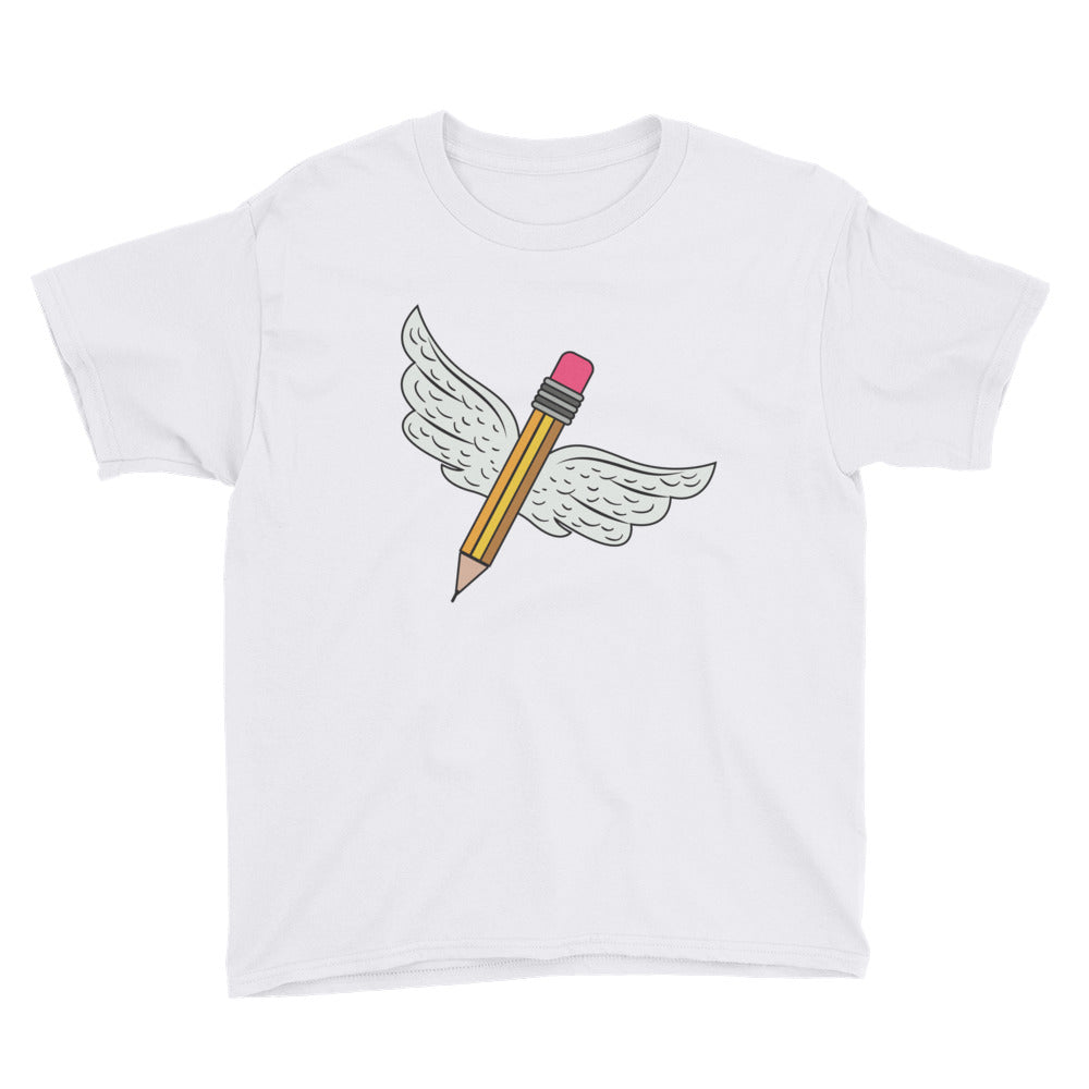 Pencil With Wings Youth Short Sleeve T-Shirt
