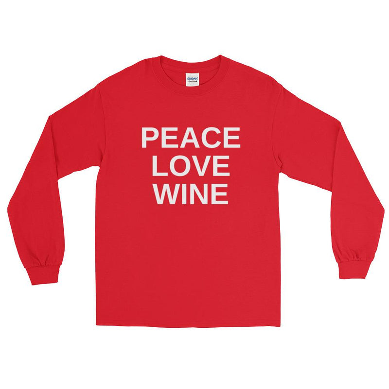 Peace Love Wine Long Sleeve Plus Size T-Shirt