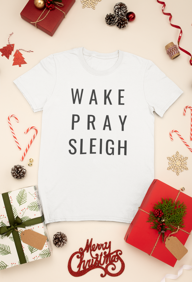 Wake Pray Sleigh Short Sleeve T-Shirt