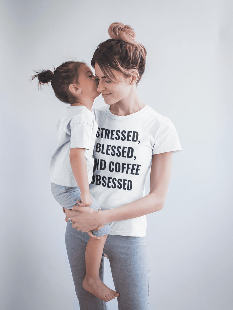 Stressed, Blessed, and Coffee Obsessed Short Sleeve Unisex T-Thirt