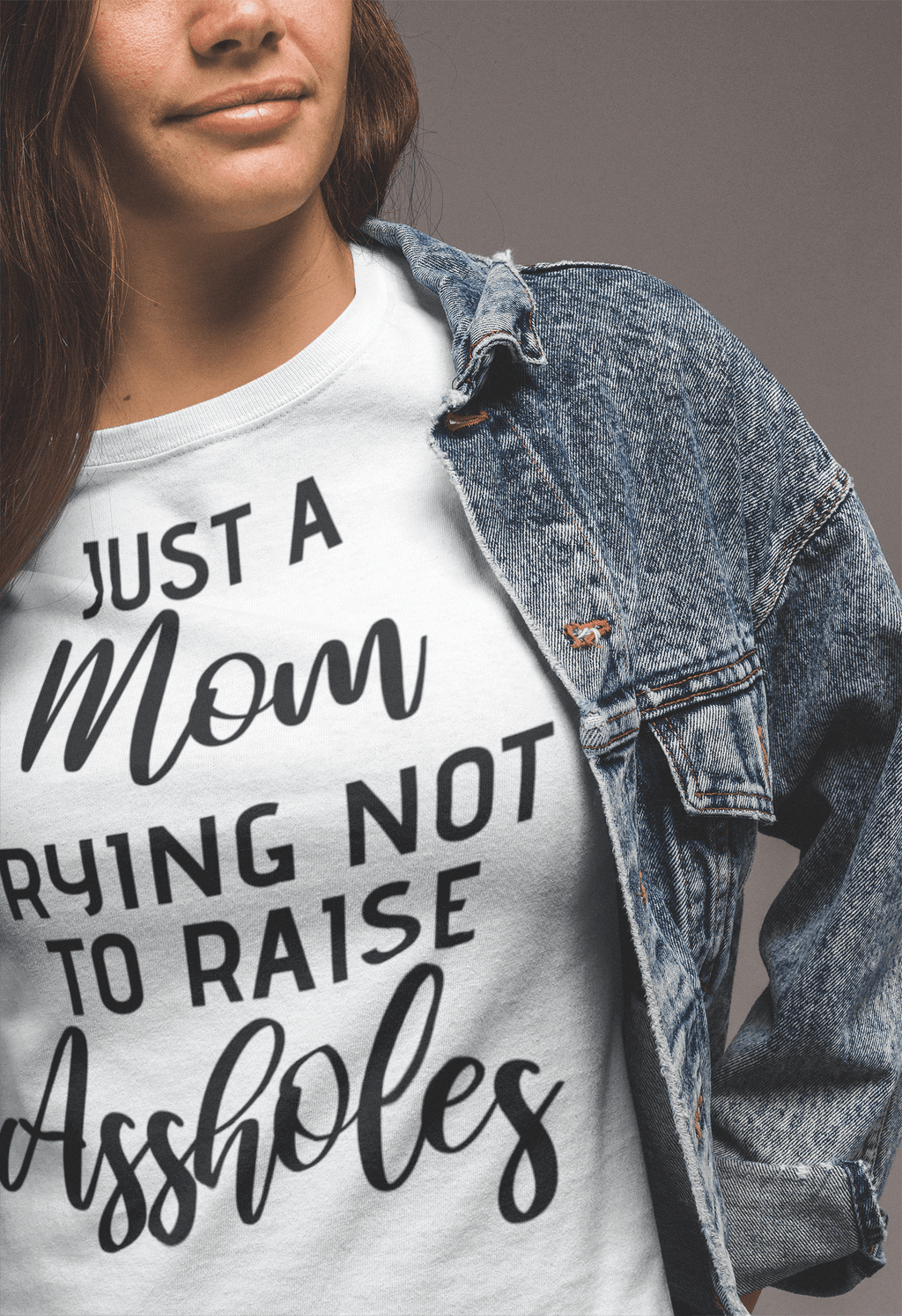Just a Mom Trying Not To Raise Assholes Short-Sleeve Unisex   T-Shirt