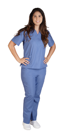 Queensland Health scrubs with Qld Health embroidery logo