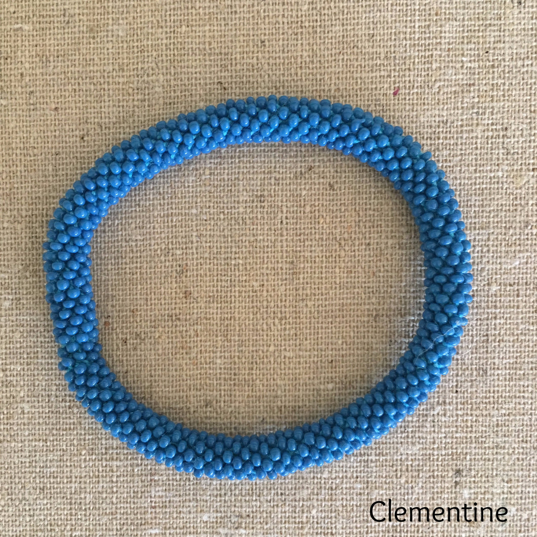 Clementine - beautiful glass bead bracelet, handmade in Nepal, from The Flower and Willow World, NZ