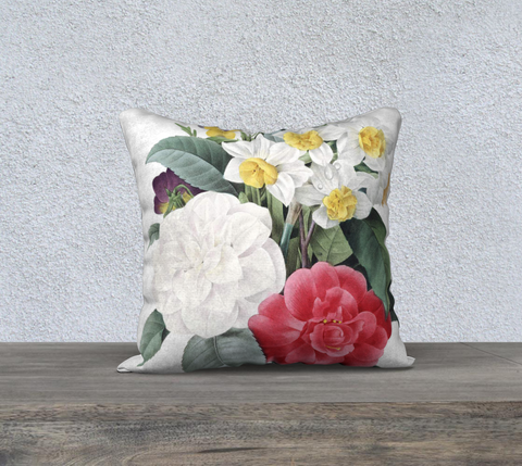 Vintage Botanical Camellia Bouquet Pillow