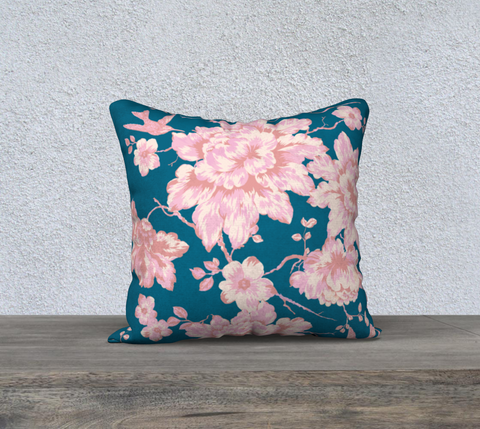 Peonies and Birds Chinoiserie Pillow Case.