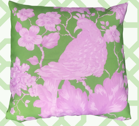 "CHINOISERIE, ""BIRD AMONGST BLOSSOMS"" IN PINK ON Green"