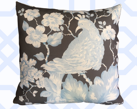 "CHINOISERIE, ""BIRD AMONGST BLOSSOMS"" IN PALE BLUE ON GREY"
