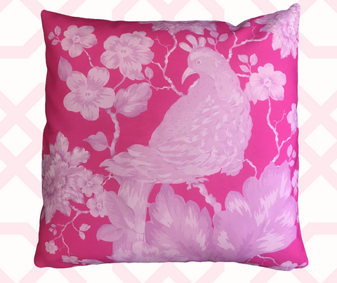 "Chinoiserie, ""Bird Amongst Blossoms"" in Pink on Pink."