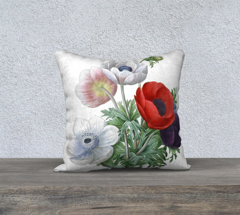 Vintage Botanical Anemone Pillow